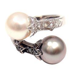 CHANEL Comete Black & White Diamond Pearl Open Band White Gold Ring. Circa 1980s