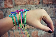 Your place to buy and sell all things handmade Dream Catcher Bracelet, Macrame Bracelets, Colorful Bracelets, Bright Colors, I Shop, Rainbow, Neon, Beads, Handmade