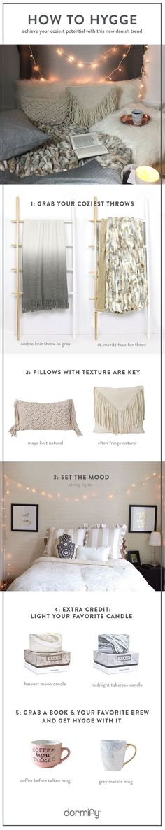 How to Bring New Decor Trend Hygge Home (danish for basically feeling cozy af). Netflix and hot chocolate encouraged.