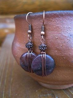 aventurine and antiqued copper earrings with wonderful wire wrapping: