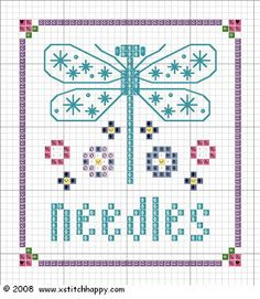 "Cross Stitch Borders Cross Stitch Happy: ""Guiltless"" Dragonfly Biscornu and Needlecase. Butterfly Cross Stitch, Mini Cross Stitch, Cross Stitch Needles, Cross Stitch Borders, Cross Stitch Animals, Cross Stitch Charts, Cross Stitch Designs, Cross Stitching, Cross Stitch Embroidery"
