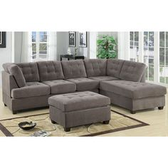 Lowest Price Online On All Poundex Bobkona Fairfax Waffle Suede Sectional  Sofa In Charcoal