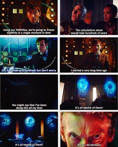 All Thirteen <-- For some reason, Capaldi's one line hit me the hardest. The way it was delivered, and his look of determination...he won me over, right there. I now can't wait to see him for real.
