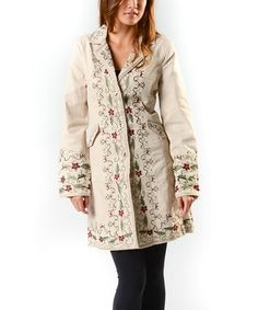 This Natural & Gold Floral Embroidered Jacket - Women by PAPARAZZI is perfect! #zulilyfinds  $79.99
