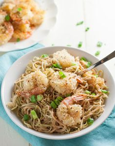 Crunchy oven fried shrimp tossed with sweet yet spicy Bang Bang noodles. Topped with green onions and slivered carrots. Delish! Your guests will thank you!