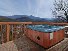The hot tub at our cabin for August. It overlooks Gatlinburg, and has a great view of Mt. LeConte. So excited!!!