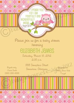 Owl Baby Shower Invitation -DIY PRINTABLE- Baby Girl Christian Scripture Bible Verse (Design 2 of 2). $12.00, via Etsy.