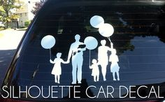 Make your own vinyl family decals with silhouette cuter. So much better than stick families! (Grosgrain fabulous)