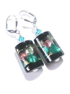 Murano Glass Black Sea Green Rectangle Sterling Silver Earrings, Leverback Earrings, Clip ons
