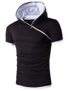 Hooded Solid Color Zipper Design Short Sleeve T-Shirt For Men