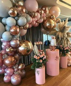 pink and gold party decor. Great for a birthday, bachelorette, bridal, or even a baby shower. Shower Party, Bridal Shower, Shower Cake, Baby Shower Decorations, Wedding Decorations, Parties Decorations, Baby Decor, Baby Shower Balloon Ideas, 18th Birthday Party Ideas Decoration