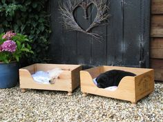 Repurposed wooden wine crates made into pet beds!