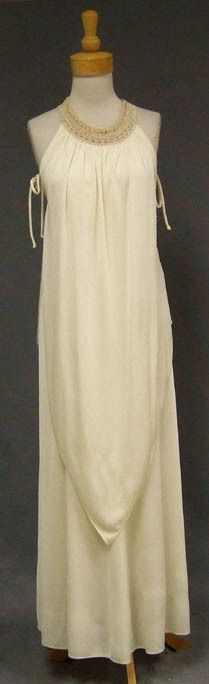 Vintageous, LLC - Flowing 1970's Ivory Jersey Evening Gown w/ Crocheted Collar, $99.00 (http://www.vintageous.com/flowing-1970s-ivory-jersey-evening-gown-w-crocheted-collar/)