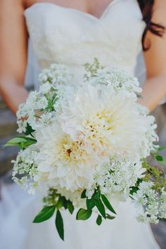 White dahlia wedding bouquet with baby's breath