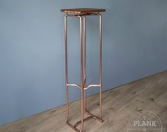 Copper Pipe Botanical Plant Stand in an Industrial / urban / Vintage Style. Hand Crafted Side table with African Sapele Hardwood.