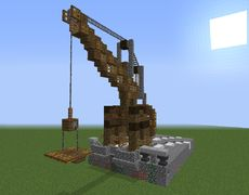 Ragnar's Medieval Crane – Architecture Designs - Mine Minecraft World Casa Medieval Minecraft, Minecraft Castle, Mine Minecraft, Minecraft Wall, Minecraft Building Guide, Minecraft Blueprints, Building Ideas, Minecraft Decorations, Minecraft Crafts