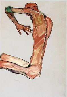 egon schiele, zelfportret. hou van de compositie: uiteindelijk kom je altijd bij de hand uit. #painting #art