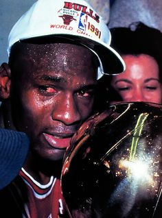 Michael Jordan crying after winning his first championship in 1991