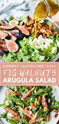 Fig Arugula Salad with Candied Walnuts | Succulent figs, tangy goat cheese, sweet and crunchy candied walnuts with light and peppery arugula… this salad hits all the spots/ It's quick and easy to make and makes a perfect summer salad. Can be made vegan, vegetarian, or satisfy any meat-eaters hunger as well. | #arugulasalad #figsalad #figseason #summersalad #saladrecipe Dairy Free Recipes, Vegan Recipes Easy, Veggie Recipes, Real Food Recipes, Baking Recipes, Gluten Free, Healthy Side Dishes, Side Dishes Easy, Side Dish Recipes