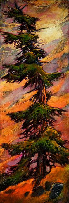 There For You, by David Langevin ~This is stunning! I love this piece so much! Tree Watercolor Painting, Watercolor Landscape, Abstract Landscape, Landscape Paintings, Nature Drawing, Abstract Nature, Art Graphique, Paintings I Love, Acrylic Paintings