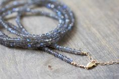 Long Beaded Labradorite Necklace Long Layering by MoonLabJewelry
