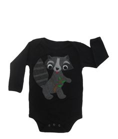 Rocky the Raccoon: Hand Stitched Organic Cotton Mushpa + Mensa Designer Long Sleeve Months Onesie With Custom EcoFi Felt Appliques Raccoon Hands, Felt Applique, Recycle Plastic Bottles, Hand Stitching, Appliques, 6 Months, Organic Cotton, Onesies, Trending Outfits