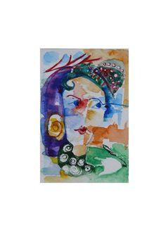folk art folk painting watercolor abstract by ArtStudioChimeva #FolkArt #folkpainting
