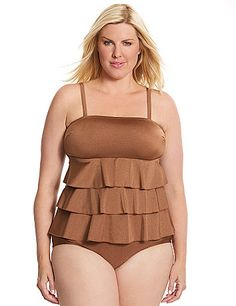 Shimmering bronze swim tank shows off your feminine side with tiered ruffles - forgiving and flattering! Built-in no wire cups and fixed straps lend light support in or out of the water. Pair with all your favorite swim bottoms for a custom swim look you'll love. lanebryant.com