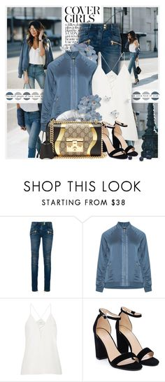 """-"" by l33l ❤ liked on Polyvore featuring KAROLINA, Balmain, Cami NYC, Nasty Gal and Gucci"