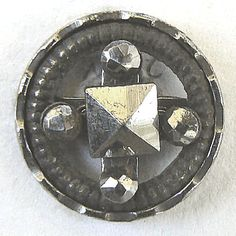 Pierced antique steel cup button with faceted cut steel