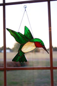 Stained Glass Hummingbird by LedByGlass on Etsy, $50.00