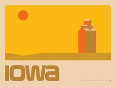 """Draplin Design Co.: DDC-117 """"Iowa Landscape"""" Poster Typography Images, Typography Inspiration, Graphic Design Typography, Graphic Design Inspiration, Creative Inspiration, Layout Inspiration, Draplin Design, Omg Posters, Vintage Graphic Design"""