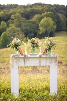 I just adore the idea of this Tennessee styled shoot by JoPhoto , especially the ceremony set-up. Benches set up in an open field... beautif...
