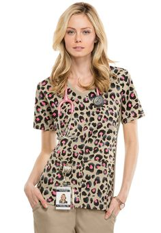 Cherokee Flexibles Cheetah Chic v-neck print scrub top. - Scrubs and Beyond