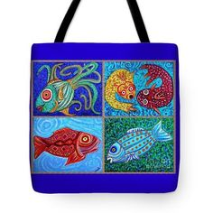 One Fish Two Fish Tote Bag  http://fineartamerica.com/products/one-fish-two-fish-sarah-loft-tote..  #totebags #sarahloft #fish #DrSeuss #painting