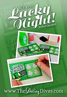 Get lucky tonight! Hand your man a sassy DIY scratch-off and have him pick his own destiny. www.TheDatingDivas.com #stpatricksday #intimatemoments #bedroomideas