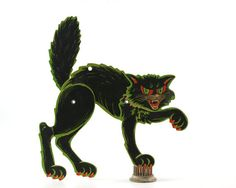 Vintage Beistle Halloween Die Cut Black Cat by GizmoandHooHa