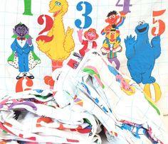 Vintage Sesame Street Muppet Fitted Flat Pillow Bed Sheet Fabric Flannel Set  #JPStevensCo