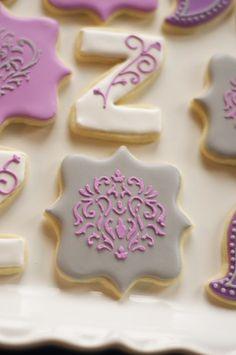 www.SoonerSugar.com, Purple cookies, birthday cookies, girly cookies, Z cookies, grey cookies, stencil cookies, paisley cookies, plaque cookies, sooner sugar