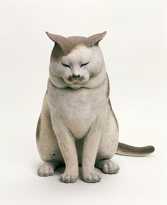 """The Nakanes' Cat"" (1999) by Japanese artist Michiyo Miwa - Wood, dry lacquer, white soil, hand-colored"