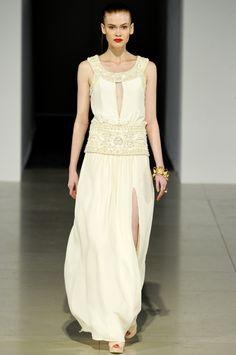 Ivory grecian-inspired Temperley London wedding dress | OneWed.com