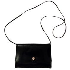 Pre-owned Givenchy Vintage Classic Patent Leather Gold Hardware Logo... (4.385 ARS) ❤ liked on Polyvore featuring bags, handbags, accessories, black, pre owned purses, vintage handbags, preowned handbags, givenchy bags and patent leather purse