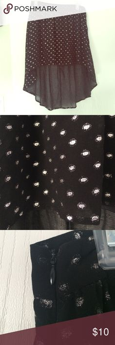 Forever 21 High-Low Skirt Black and silver polka dot skirt. Light fabric. Zips on the side. Never been worn. Feel free to make an offer! Forever 21 Skirts High Low