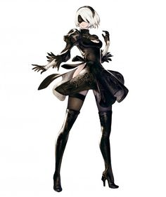 View an image titled 'YoRHa No. 2 Type B Art' in our NieR:Automata art gallery featuring official character designs, concept art, and promo pictures. Female Character Design, Character Design References, Character Design Inspiration, Character Concept, Character Art, Concept Art, Video Game Characters, Fantasy Characters, Female Characters