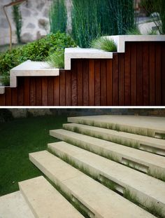 This modern backyard has permeable stone steps that connect the different terrace levels. #OutdoorStairs #Stairs #Garden #Landscaping