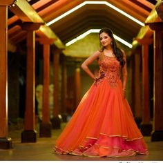 orange and pink gown, orange evening gown, orange gown, gown for sangeet, sangeet outfit