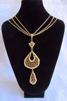 "Vtg Monet Goldtone Pendant Necklace Triple Chain Filigree Circle Teardrop 15""  #Monet #Pendant"