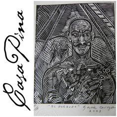 """""""El Forzudo"""". Xilografía ( grabado en madera ) seriada, fechada y firmada por el artista Regiomontano César García Cavazos en 2003. Medidas aprox: 20 X 15 cms. Preguntar el Precio /  Price Upon Request. Informes: integradoradeartedelnoreste@gmail.com"""