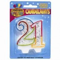 Candlelights Double Numeral 21 Rainbow $3.95   B400823