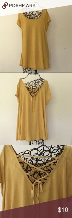 Super soft gold trapeze shirt with lace up in back Super soft gold trapeze shirt with lace up in back Mossimo Supply Co. Tops Tunics